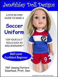 Soccer Uniform for WellieWishers Dolls