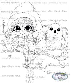 INSTANT DOWNLOAD Digital Digi Stamps  Digi Big Eye Big Head Dolls Digi  Aussie Christmas By Sherri Baldy