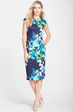 Floral Print Scuba Midi Sheath Dress