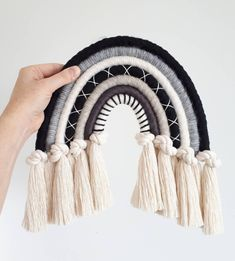 Macrame rainbow knotted wall hanging / decoration - fibre fiber wall art monochrome black white grey beige - Made to order Yarn Wall Art, Hanging Wall Art, Diy Wall Art, Diy Art, Wall Decor, Macrame Art, Macrame Projects, Macrame Knots, Grey And Beige