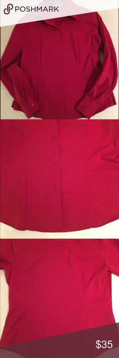🎈Foxcroft Wrinkle Free Fitted Stretch Shirt In very good used condition only worn on occasions Princess seaming provides a tailored look, while added stretch eases the fit. Shirttail hem with approximately 2 1/2 inch side slits looks equally polished tucked in or out . Length is approximately 24 inches. Machine wash. From a pet free and smoke free home. Foxcroft Tops Button Down Shirts