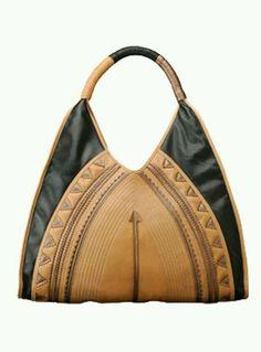 Black and Tan Oversized   Large  Big Tribal Hobo bag. Designer Melie Bianco 2563b7e06ff