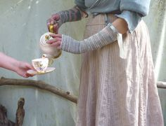 Tea Party Gauntlets hand knitted in pale bluegray and by InnerWild, $59.00