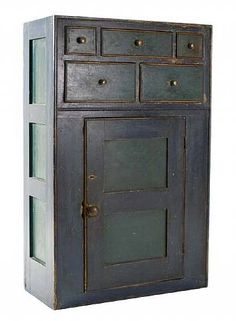 , Blue and Green Pine Painted Hanging Cupboard