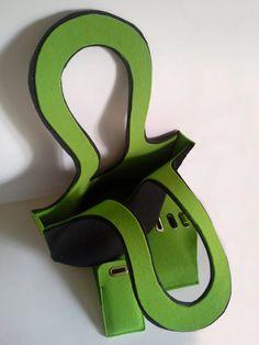 Double color bag made of felt felt bag green bag by Malikdesign