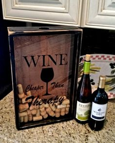 Wine Cork Holder Shadow Box Display Wedding House Warming Gift Personalize Bar Decor