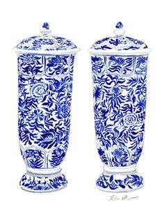 Pair of Blue and White China Ginger Jar Vases by Laura Row on Artfully Walls