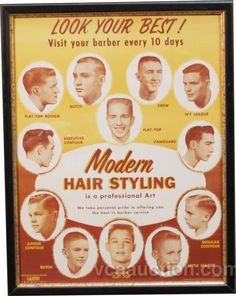 """i keep this on my station at fsc. love the names of the cuts. """"visit your barber every 10 days"""""""