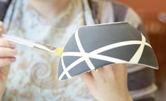 Mondrian Idea for kids! Tips for DIY pottery Painting.never know what to paint myself when I take my kids to those DIY painting places, love the ideas and tips in this post Painted Plates, Ceramic Plates, Ceramic Pottery, Pottery Bowls, Painted Pottery, Ceramic Painting, Diy Painting, Ceramic Art, Pottery Painting Ideas