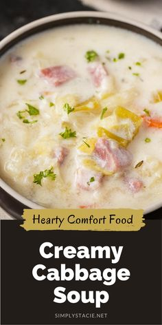 Cabbage Soup Recipes, Cabbage Soup Diet, Easy Soup Recipes, Chowder Recipes, Crockpot Recipes, Cooking Recipes, Cream Of Cabbage Soup Recipe, Celery Soup, Ham Soup