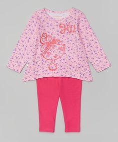 Candy Pink 'Hi' Top & Leggings - Infant & Toddler
