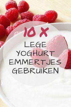 Wist je dat je heel veel afval in huis eenvoudig kunt hergebruiken? Ik deel 10 handige tips om lege yoghurt emmertjes te upcyclen. #awkwardduckling