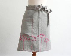Eco Friendly Cafe Apron - Grey linen half apron with neon pink elderberry - Barista apron - Women neon and grey cooking apron - Summer