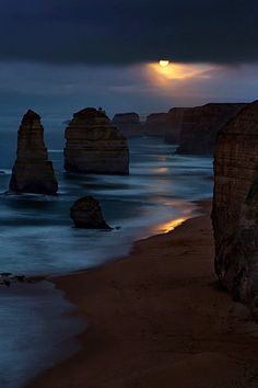 Moonset over Twelve Apostles, Great Ocean Road, Victoria, Australia