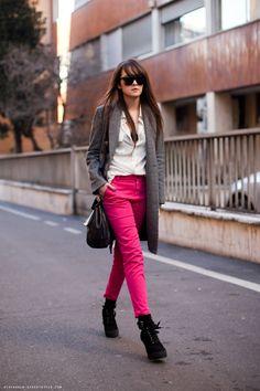 pink lipstick pants
