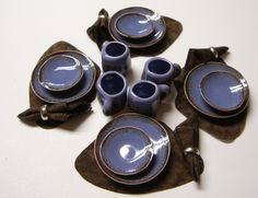 12 Piece Blue Orchid Brown Blend Dinner Set-Placemats & Napkins