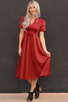 Short Sleeve Midi Dress with Bow Knots   Jane