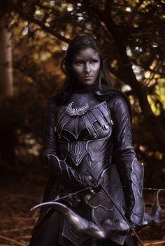 dark elf with nightengale armor i think... def skyrim