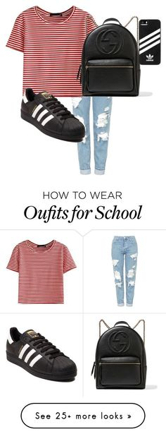 """""""Casual outfit for school"""" by hollygrace16 on Polyvore featuring Topshop, WithChic, Gucci and adidas"""