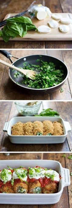 BAKED MOZZARELLA CHICKEN ROLLS. Switch bread crumbs out for almond / coconut flour and you have a Banting friendly meal