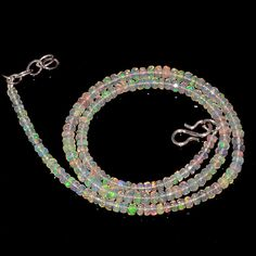"36CRTS 3.5to4MM 18"" ETHIOPIAN OPAL FACETED RONDELLE BEADS NECKLACE OBI2143 #OPALBEADSINDIA"
