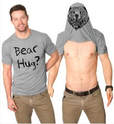 Mens Funny Bear Hug T shirt