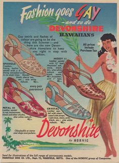 Fashion goes gay with Devonshire Hawaiians. 1940s sandals with Hula girl graphic