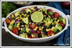 Avocado, Black Bean & Corn Salad ~ a bright, colorful and flavorful fiesta on a plate! Vegan & Gluten-free.