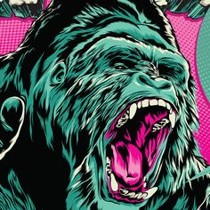 A roaring gorilla is what illustrators' dreams are made by The Drawing Book Studios , via Behance