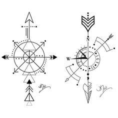 Risultati immagini per geometric compass tattoo Arrow Compass Tattoo, Compass Tattoo Design, Arrow Tattoos, Simple Compass Tattoo, Nautical Compass Tattoo, Nautical Tattoos, Neue Tattoos, Body Art Tattoos, Sleeve Tattoos