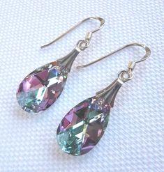 Sterling Silver Crystal Moonlight Pear Crystal Hook Earrings Swarovski Elements