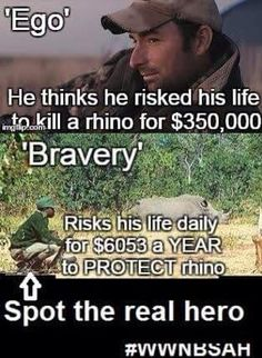 """This """"man"""" is a coward and a bully. The ranger is the hero. #SaveAfricanAnimals #BanTrophyHunting @Orcafree01 @stoptaijikillzo"""