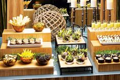 Tapas bar, by Good Gracious Events! in Los Angeles, displayed on sustainable bamboo risers from Cal-Mil (800.321.9069, calmil.com)
