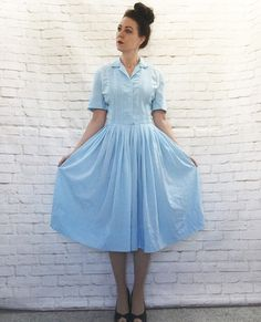 Vintage 60s Guayabera Shirt Dress Light Blue Embroidered Pleated Knee Length M…
