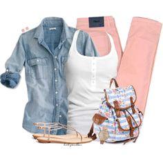 Denim Top & Colored Jeans