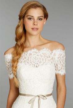 Simple beautiful off the shoulder lace dress For more lace inspiration: www.facebook.com/labolaweddings