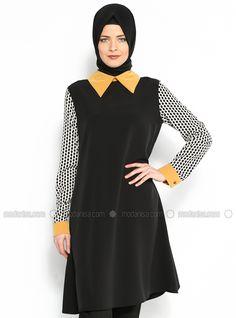 Puantiyeli Tunik - Safran - Efruz Giyim