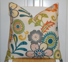 BOTH SIDES - Beautiful Decorative Pillow Cover - - Suzani - Throw Pillow - Accent Pillow - Olive Green - Grey - Teal - Yellow - Orange hmm, this has all the colors I wsa considering. Teal Yellow, Teal And Grey, Orange, Blue, 20x20 Pillow Covers, Decorative Pillow Covers, Accent Pillows, Throw Pillows, Linens And More