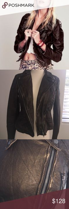 💕Free People leather biker jacket 💕 🌹🌸Adorable fitted soft vegan leather vintage styling    Size:0   Silver hardware beautiful deep brown copper !  So versatile zero flaws  🌸💕 Free People Jackets & Coats