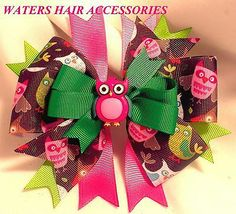 PINK OWL Stacked Pinwheel Spikes Girl Hair Bow Clip