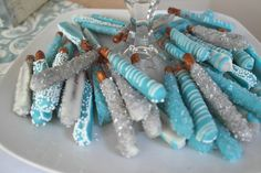 Chocolate dipped pretzels at a boy baby shower!   See more party ideas at CatchMyParty.com!