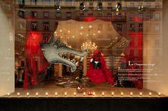 Etalage geïnspireerd door het sprookje Roodkapje.