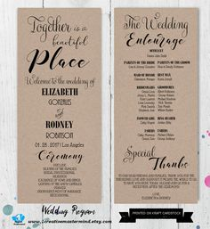 printable 4x9 wedding program double sided simple and elegant