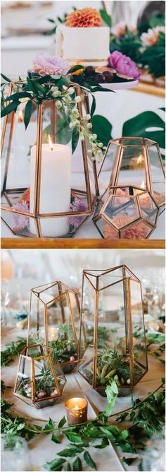 Geometric Wedding Decoration Idea - Use geometric glass terrariums as table centerpieces. Have a drawing or auction to give the centerpieces away to guests.