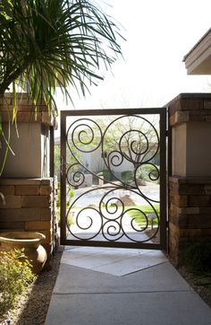 Another stunning gate by First Impression Security Doors Front Door Entrance, Entry Doors, Front Doors, Entryway, Metal Gates, Wrought Iron Gates, Fence Gate, Fences, Burglar Bars