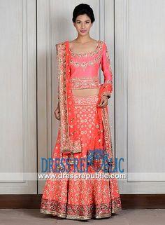 Peach-Coral Deep Round Neck Shirt with Lehenga from Manish Malhotra Lehenga Choli Bridal Manish Malhotra Lehenga, Lehenga Choli, Sari, Engagement Dresses, Salwar Kameez, Indian Outfits, Bridal Dresses, Coral, Peach