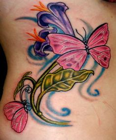 Pink Butterfly Hand Tattoos for Women1 250x300 Lovely Wrist Tattoos for Woman and Couple
