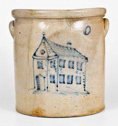 Rare C.W. BRAUN / BUFFALO, N.Y. Stoneware Crock w/ Elaborate House Design