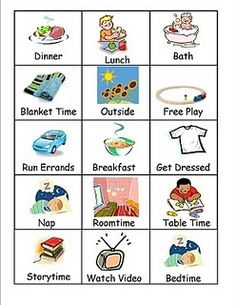 Visual Schedule--step-by-step direction to create your own picture schedule, and a free printable of cards