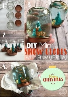 DIY Mini Snow Globes With Printable Gift Tag - Double the Batch